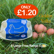 Robinsons 6 Large Free Range  Golden Yolks Eggs